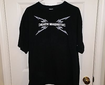 "METALLICA ""DEATH MAGNETIC"" 2-Sided British Flag Logo Concert T-Shirt Mens XL"