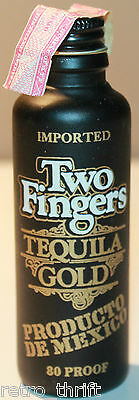 "Two Fingers Tequila Bold 4.25"" Miniature Liquor Bottle 80 Proof Product Mexico"