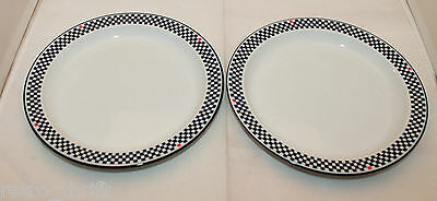 Dansk Bistro Solvang Set of 2 Bread and Butter Side Plates Dishes Checks AS-IS
