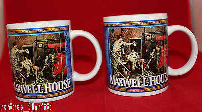Maxwell Coffee House  Advertising 2 Mug Cups Set Houston Harvest Logo 1949 1951