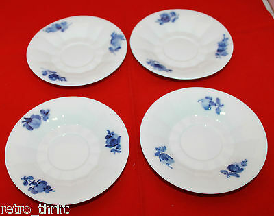 Set of 4 Royal Copenhgen Blue Flowers Saucers ONLY For Cups White Denmark