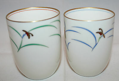 Set of 2 Japan Fukagawa Koransha Porcelain Green Tea Cups  Flowers White Gold