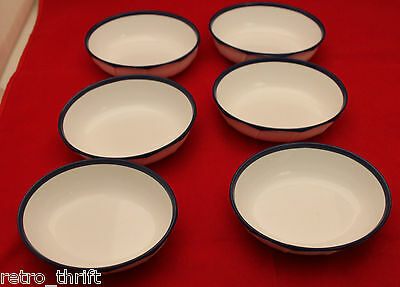 Japan Airline JAL Noritake 6 Plastic Oval Shape White Navy Blue Snack Bowls Set