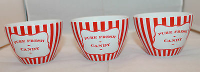 Retro Set of 3 Robert Gordon Australia Red White Stripes Pure Fresh Candy Bowls