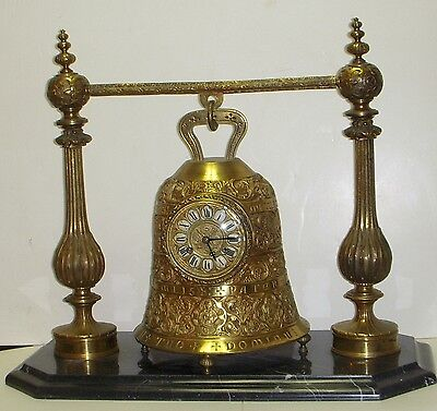 Antique French Bronze Sanctuary Bell Chime Clock Gothic Ecclesiastical 1870 Runs