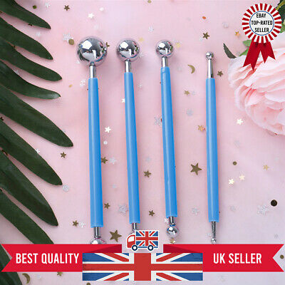 4X Fondant Cake Flower Decorating Clay Sugarcraft Ball Modelling Cutter Tool NEW