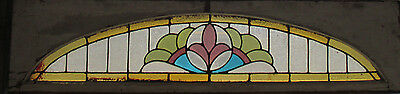 ANTIQUE AMERICAN STAINED GLASS TRANSOM WINDOW 64 x 16 ~ ARCHITECTURAL SALVAGE ~