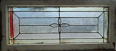 ANTIQUE AMERICAN STAINED GLASS TRANSOM WINDOW 36 x 16 ~ ARCHITECTURAL SALVAGE ~