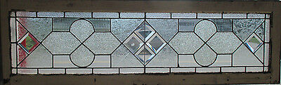 Antique American Stained Glass Transom Window Bevels 54 X 16 Salvage ~