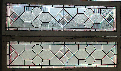 Pair Antique Stained Glass Transoms Sidelites Windows Bevels 54 X 16 Salvage ~