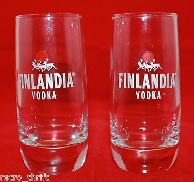 Set of 2 Finlandia Vodka Advertising Promotion Logo Bar Skinny Glass Cup Finland