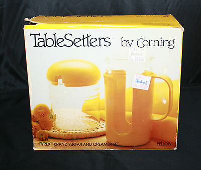 Vintage TableSetters by Corning Pyrex Glass Sugar Creamer Set Yellow Retro NIB
