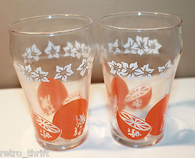 Vintage Set of 2 Clear Small Drinking Juice Glass Orange White Flowers Retro