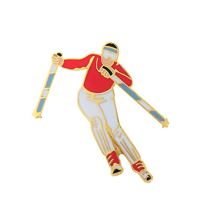 Downhill Skier Skiing With Poles Pin Badge P018