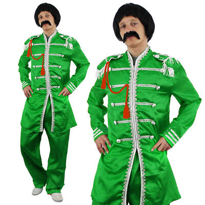 Green Sergeant Pepper Mens Costume 1960S English Rock Band Outfit Fancy Dress