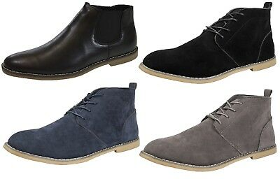 Mens Chelsea Ankle Boots Slip On Faux Suede Smart Desert Formal Brogues Size