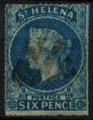 St. Helena 1856 SG#2a 6d Blue QV P14-16 Used #D26869