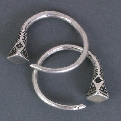 "Pair of small vintage silver Tuareg ""tsabatine"" earrings.  Niger, W. Africa."