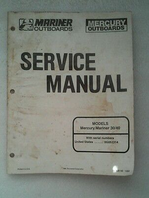 Mercury Mariner 30 40 HP Outboard Service Manual 90-826148 used condition fix it