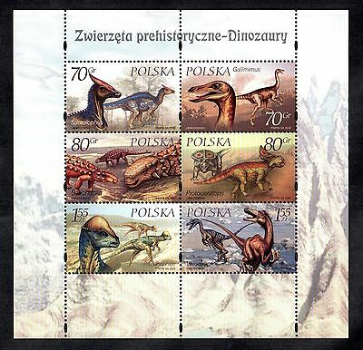 Dinosaurs Mint Polish Stamp Sheet Prehistoric Animals Reptiles Would Frame Well