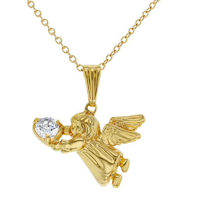 18k Gold Plated Guardian Angel CZ Children's Pendant Necklace Chain 16""