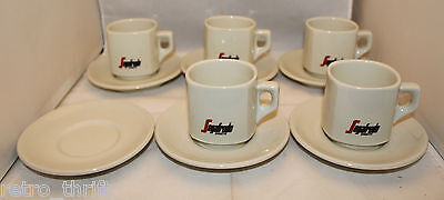 Segafredo Zanetti 5 Regular Cappuccino Coffee Cup 6 Saucer Set Made in Italy ACF