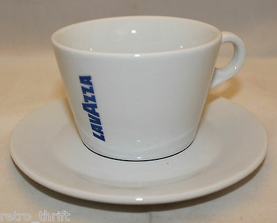 Lavazza Coffee White Blue Americano Mug Cup Saucer Set 8oz Logo IPA Italy
