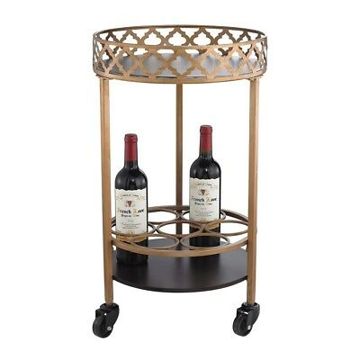 Sterling Industries Circular Quatrefoil Bar Cart, Gold, Walnut, Antique Mercury