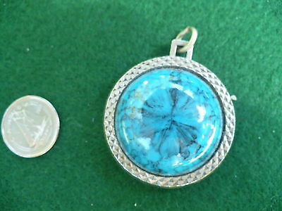 Indian head & turquoise pendant necklace charm buffalo nickel style #cp