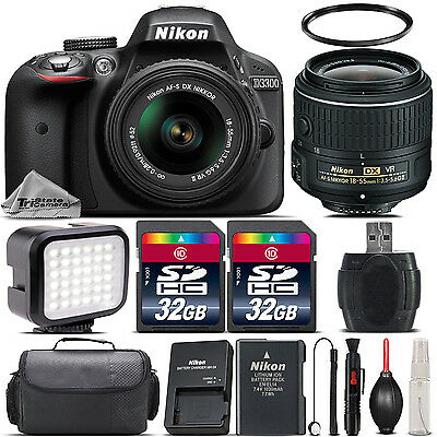 Nikon D3300 Digital SLR 24.2MP Camera + 18-55mm VR II + LED + Case - 64GB Kit
