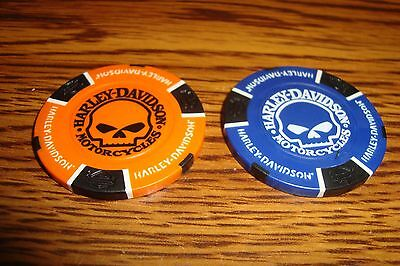 #2 Two Different Harley Davidson Motorcycle Poker Chips Willie G Skull image O/B
