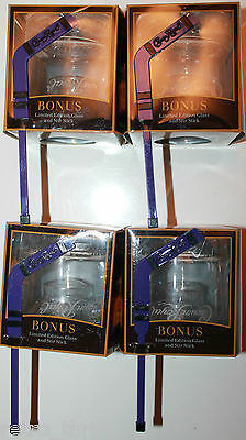 4 x Crown Royal Whisky Limited Edition Rock Glass with Hockey Goalie Stir Stick