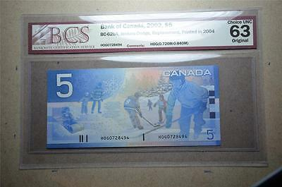 CANADA $5 2005 HOG(0.720M-0.840M) Replacement BCS Graded CHOICE UNC 63