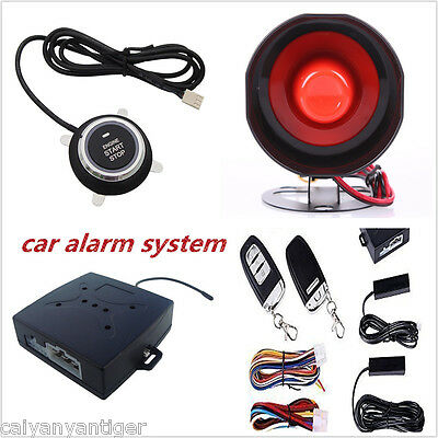 Smart Passive Keyless Entry Car Alarm System W Push Button &Remote Control Start