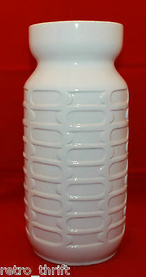 "Vintage Carstens West Germany Pottery White Brown Tall Vase 28.5cm 11.25"" E1-28"