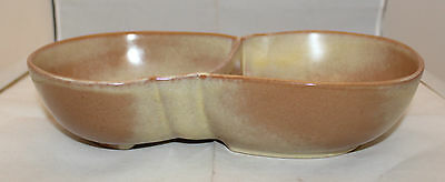 "Frankoma Pottery Lazybones Brown Satin Divided Serving Bowl 4QD 28cm 11"" Wide"