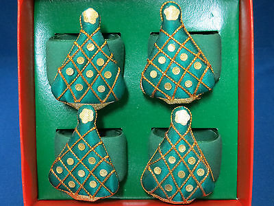 Christmas Tree Napkin Rings Set of 4 Fabric Covered New in Box Holiday Table