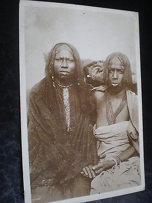 Old real photograph postcard Bichareen women of  the Sudan c1900s