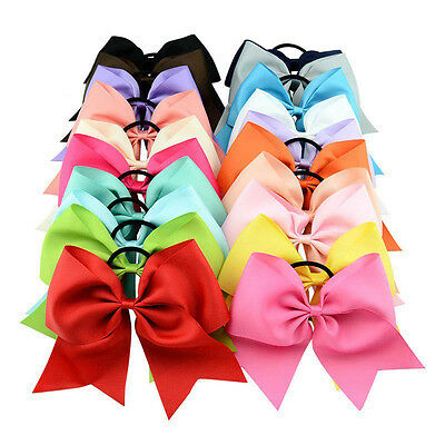 Fashion 8 Inch Cheerleading Solid Colors Cheer Bow With Elastic Band For Girls