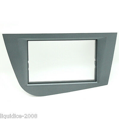 CT24ST31 SEAT LEON 2005 to 2012 GREY DOUBLE DIN FASCIA ADAPTER PANEL PLATE