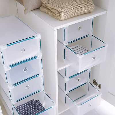 UK Home 24 x Foldable Shoe Boxes Drawer Stackable Storage Box Organiser Plastic