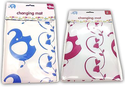 Baby Changing Travel Mat Elephant Home Away Use Folding Portable Blue And Pink
