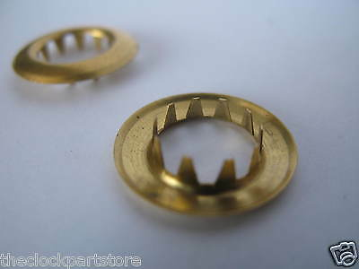 Keyhole grommets: Brass x 2 for clock repair 11-12mm I/D 19mm OD Longcase parts