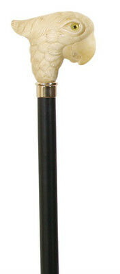 """Ivory Effect Parrot Handle Walking Stick Bird Head Collector's Walking Cane 37"""""""