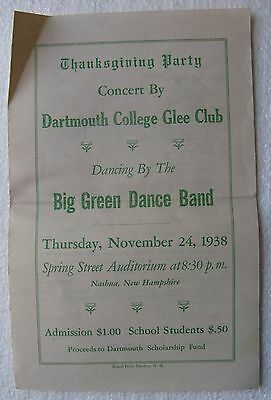 Program for Dartmouth College 1938 Thanksgiving Party Glee Club Concert