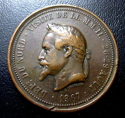 1867 French Chambre De Commerce Bronze Medal Nice Strike / 36 mm / N129