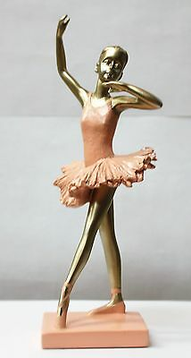 "NEW DANCE RESIN BALLERINA STATUE pink ballerina  9"" tall"