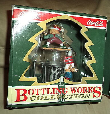 "Coca-Cola Bottling Works Collection Christmas Ornament  ""Elves on Glass"""