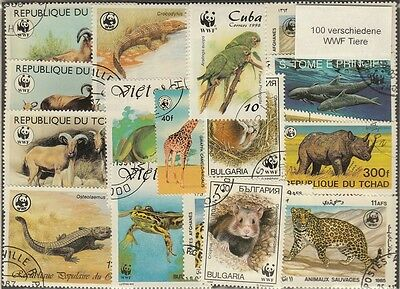 100 verschiedene Briefmarken WWF - World Wildlife Foundation