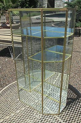 "Brass Glass Table Top Wall Curio Cabinet Display Shelf Case Mirror 24"" Big Tall"